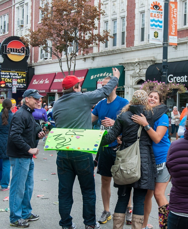 http://www.flickr.com/photos/bradhoc/8069637063/in/photostream - Chicago Marathon runners and spectators hugging