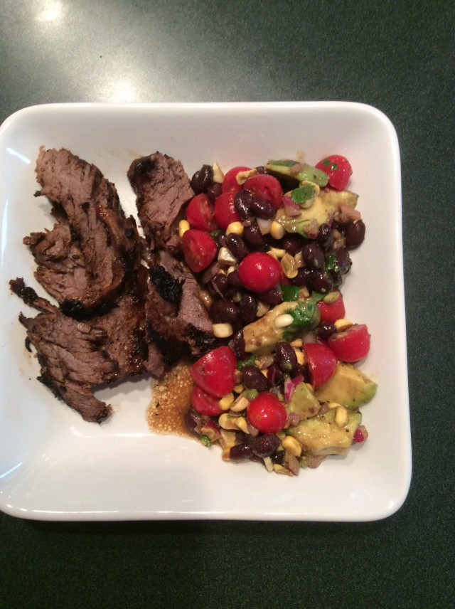 rachells skirt steak with black bean and avacado salad