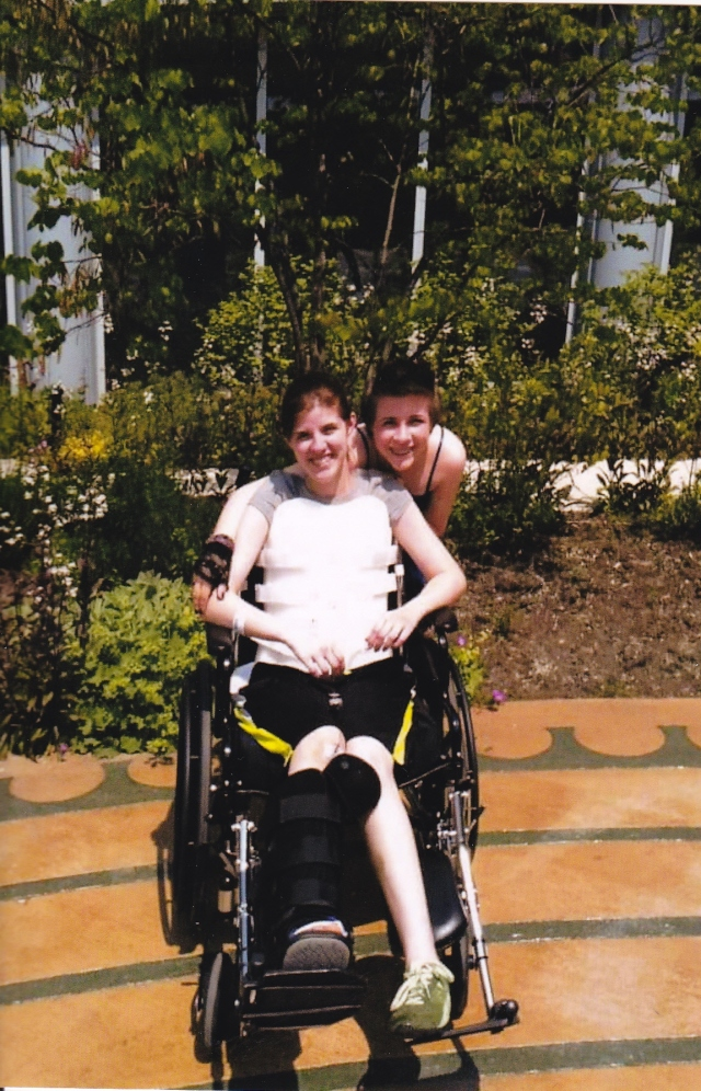 Lindsey with sister Sarah outside the rehab hospital