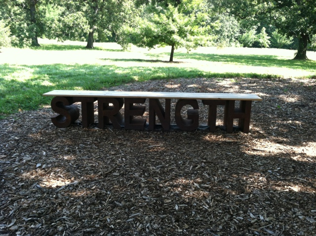 strength bench at arboretum for Sue's blog on our comfort place