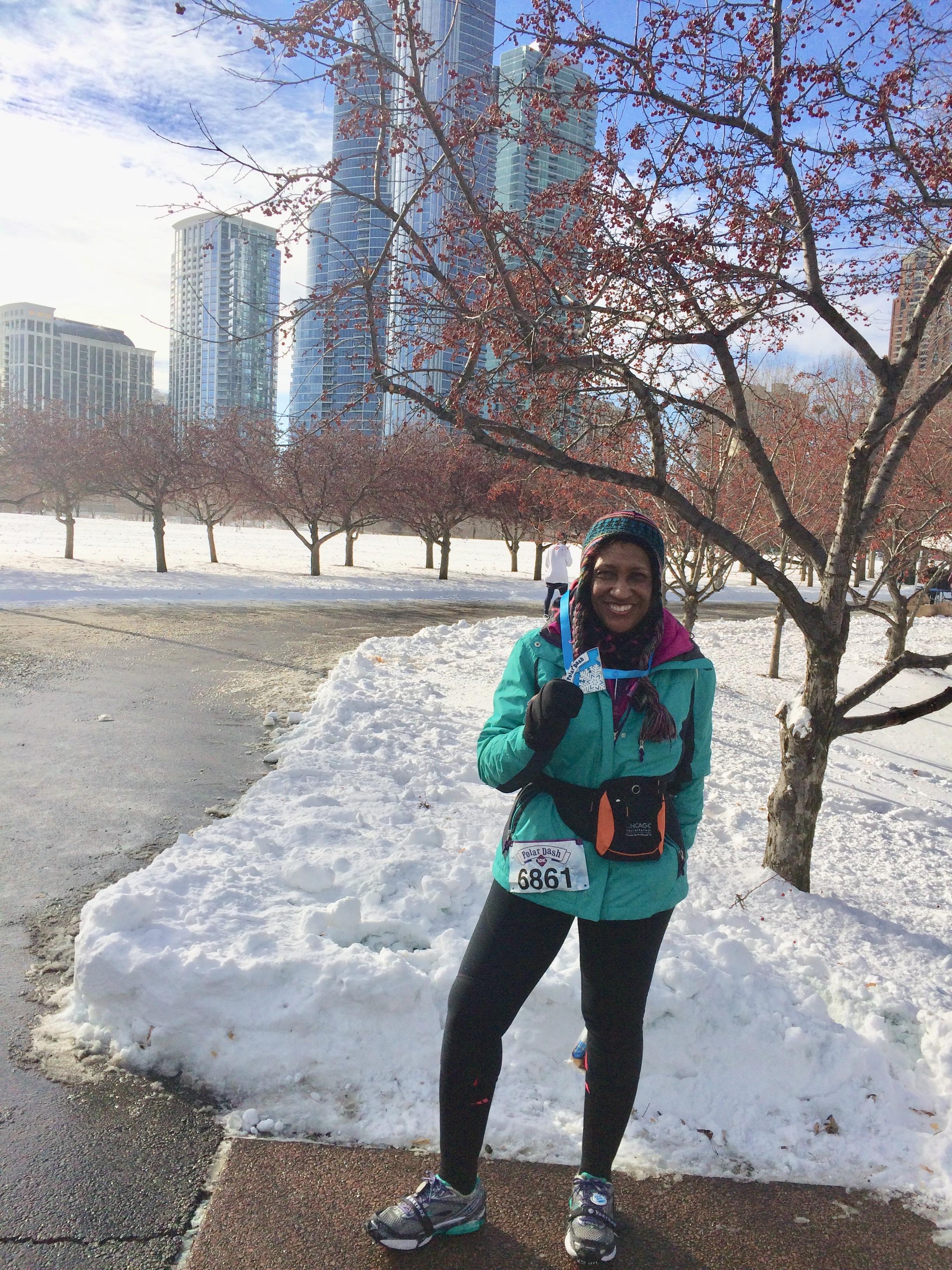 Rachell loves to run in winter